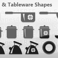 30 Cookware and Tableware Photoshop Shapes CSH