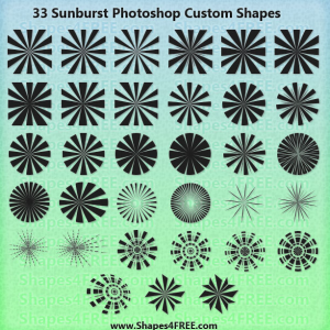 33 Sunburst Photoshop Shapes