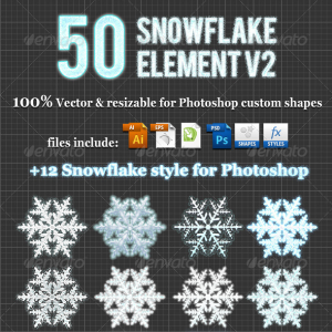 50 Christmas Snowflake Element v2 Photoshop Custom Shapes