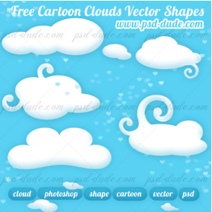 Cartoon Cloud Photoshop Shapes