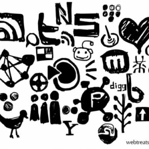 Free Social Networking Hand Drawn Photoshop Shapes