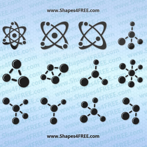 12 Atom and Molecule Photoshop Shapes