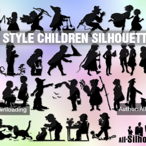 Old style children silhouettes
