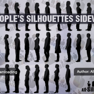 People silhouettes sideview