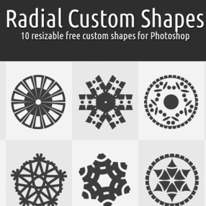 Radial Snowflakes and Stars Shapes for Photoshop CSH