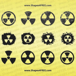 12 Grunge Radiation Symbol Vector Shapes