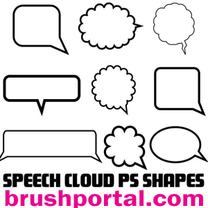 Speech Clouds and Bubbles Photoshop Shapes