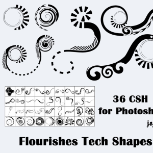Tech Swirl Floral Shapes for Photoshop