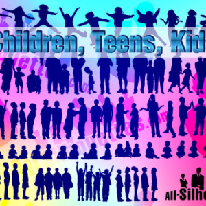 Vector Children and Teens Silhouette
