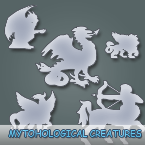 Vector Mythological Monster Creatures, Dragons and Demons