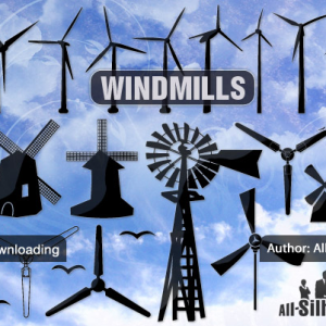 Vector Windmill Silhouettes