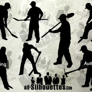 Vector Workers Human Silhouettes