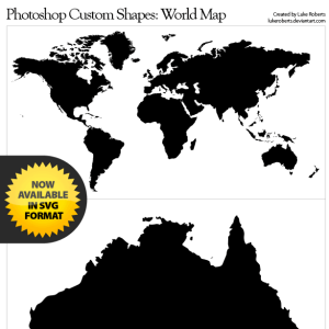 World Map Vector Shape Photoshop CSH